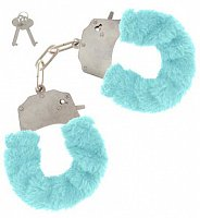 Kovová pouta s modrým plyšem Toy Joy Furry Fun Cuffs Blue